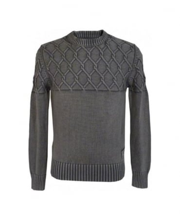 Replay Grey Cable Knit Jumper