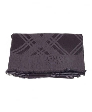 Armani Grey & Check Detail Scarf