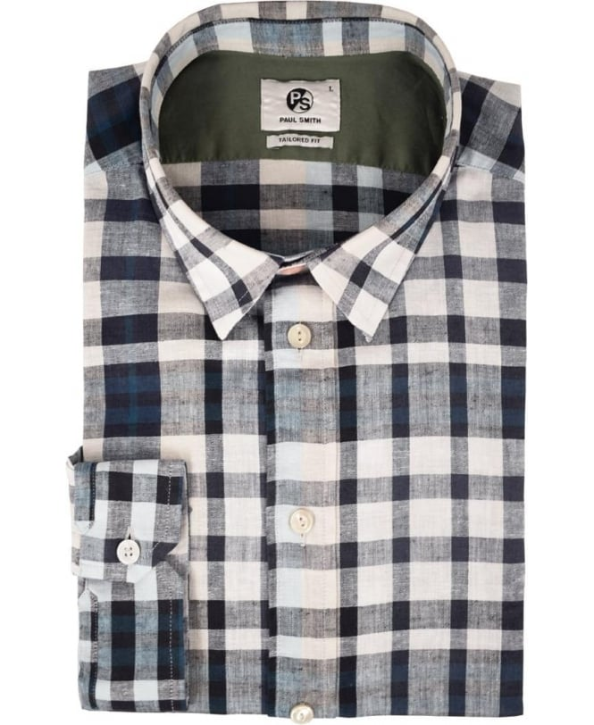 PS Paul Smith Grey Check Long Sleeve Tailored Fit Shirt
