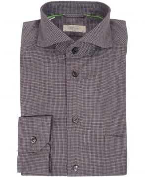 Eton Shirts Grey Check Slim Fit Shirt