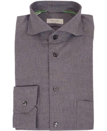Eton Shirts Grey Check Slim Fit Shirt