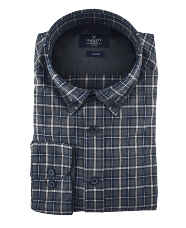 Grey Check Slim Fit Shirt