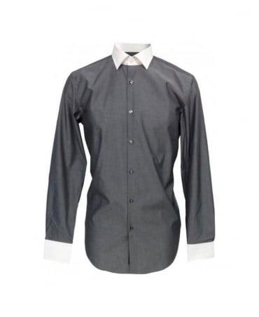 Hugo Boss Grey Contrast Collar Slim Fit Jonne Shirt