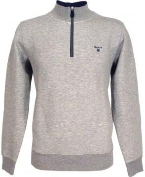 Gant Grey Contrast Logo Half Zip Sweatshirt