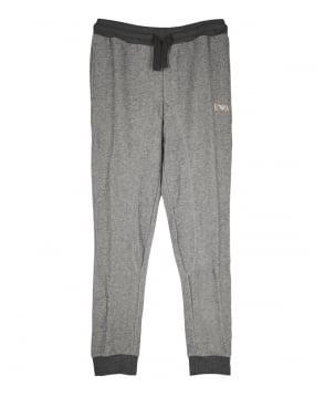 Emporio Armani  Grey Contrast Ribbed Drawstring Sweatpants