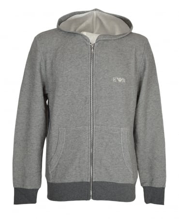 Emporio Armani  Grey Contrast Ribbed Hooded Sweatshirt
