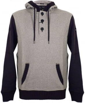 Armani Jeans Grey Contrast Sleeve Hooded Sweatshirt