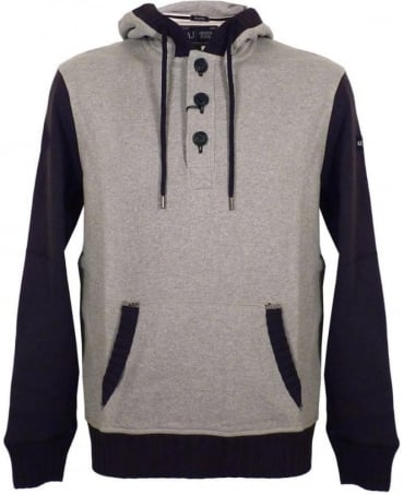 Armani Grey Contrast Sleeve Hooded Sweatshirt