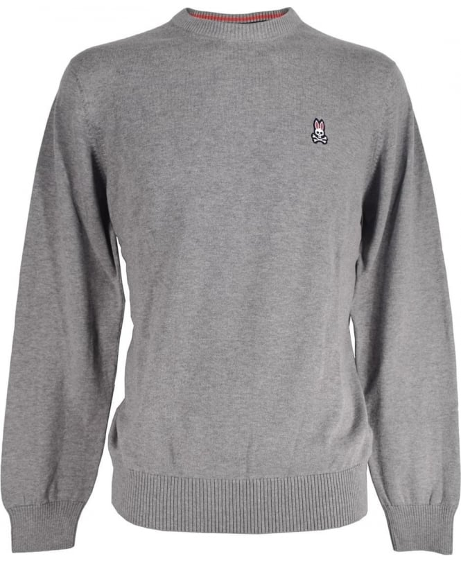 Psycho Bunny Grey Cotton Crew Neck Sweater