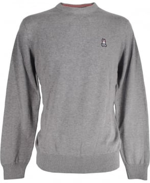 Psycho Bunny Grey Cotton Crew Neck Sweater