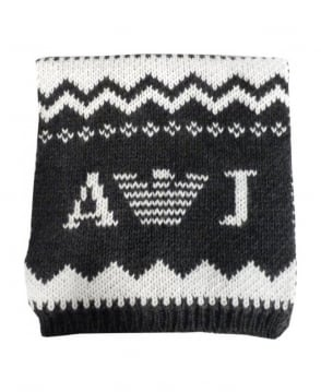 Armani Jeans Grey & Cream Fair Isle Knitted Scarf