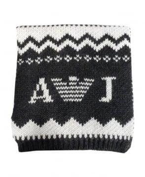 Armani Jeans Grey & Cream Fair Isle Knitted Scarf