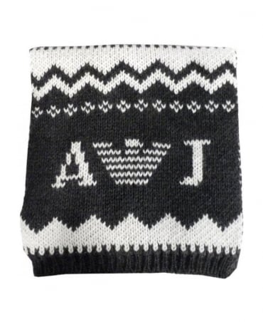 Armani Grey & Cream Fair Isle Knitted Scarf