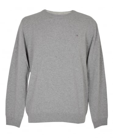 Grey Crew Neck Lambswool Sweater