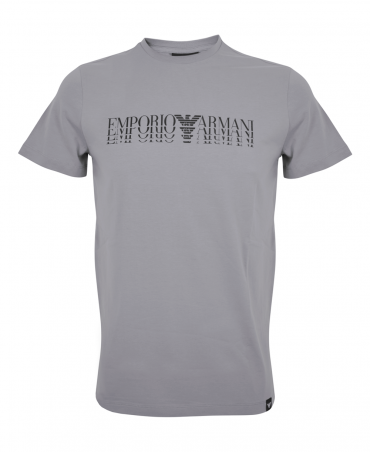 Grey Crew Neck T-Shirt With Logo