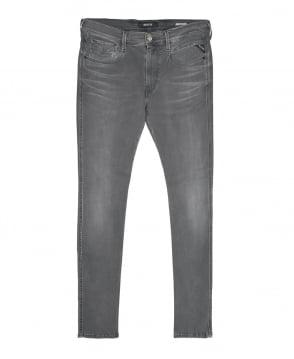 Replay Grey Denim Anbass Hyperflex Jeans