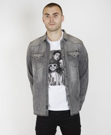 10920c4d6 Grey Denim Stone Wash Shirt