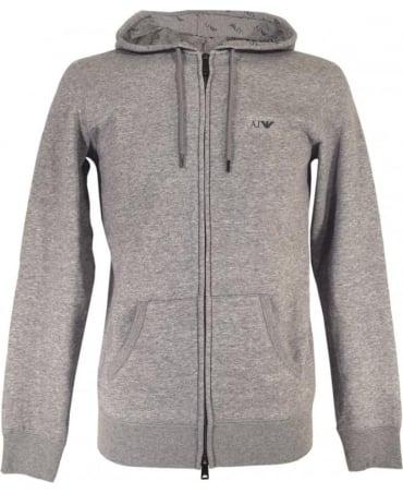 Armani Grey Drawstring Hooded Sweatshirt