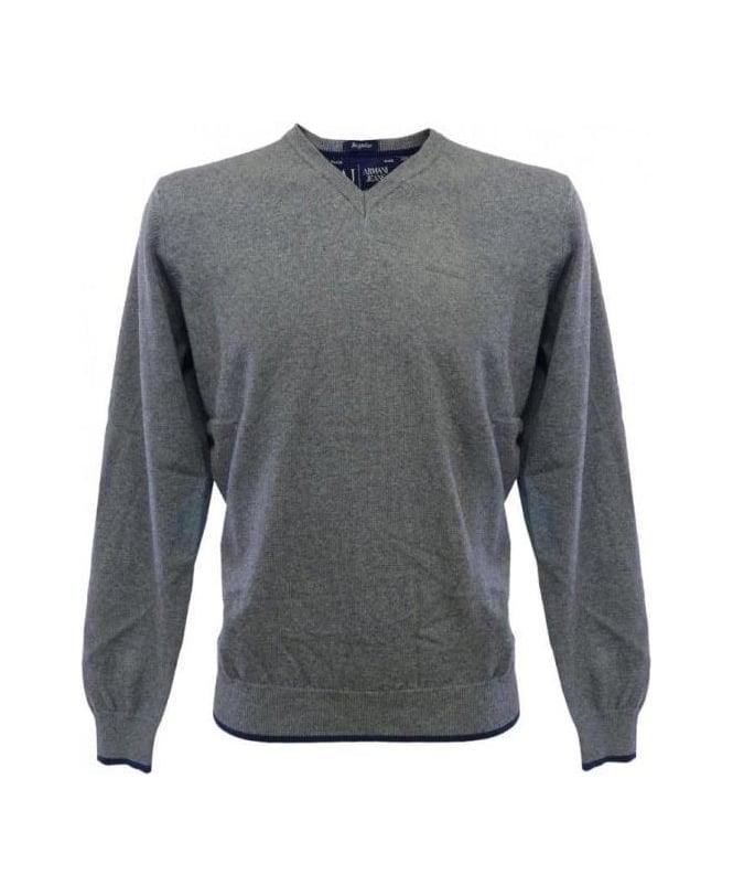 Armani Jeans Grey Elbow Patch Knitwear U6W84