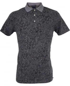 Scotch & Soda Grey Floral Pattern Refined Polo Shirt