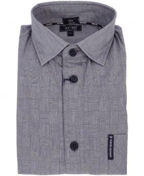 Armani Grey Hatching Check Shirt Z6C33