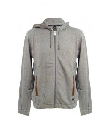 Hugo Boss Grey Leather Trim Hooded BM Sweatshirt