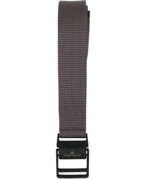Stone Island Grey Logo Buckle Woven Belt