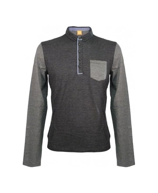Hugo Boss Grey Long Sleeve Patchy Polo