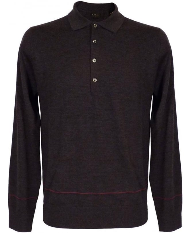 Hackett Grey Longsleeve Polo Knitwear