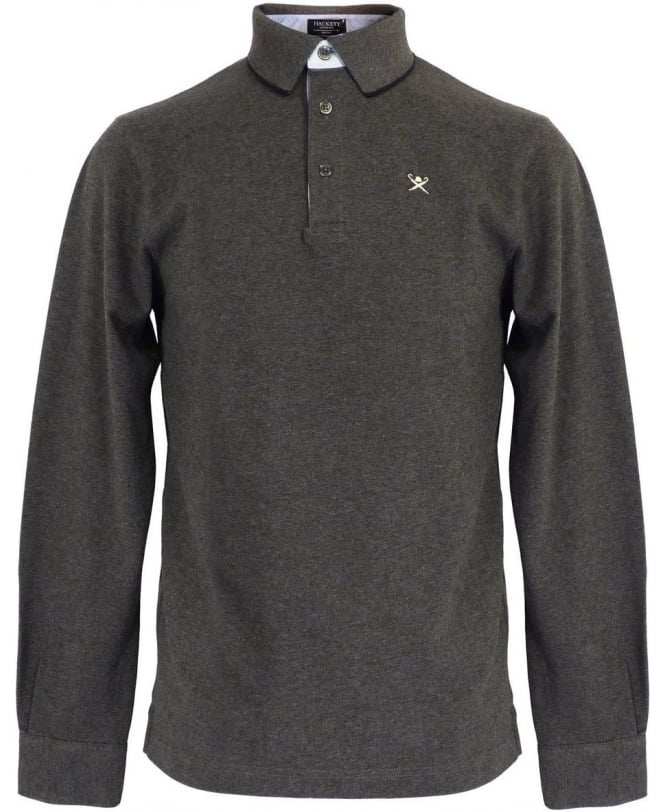 Hackett Grey Longsleeve Polo Shirt