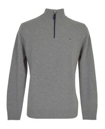 Lacoste Grey Marl AH2988 Zip Up Jumper