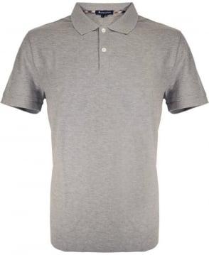 Aquascutum Grey Marl With Club Check Hector Polo Shirt