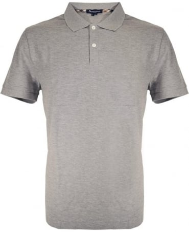 Aquascutum Grey Marl With Club Check Hector Polo Shirt