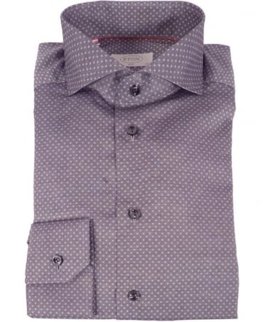 Eton Shirts Grey Micro-Square Shirt