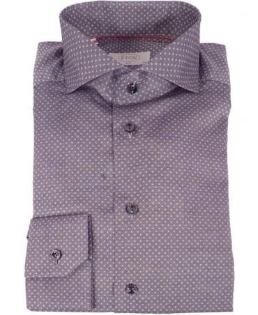 Eton Shirts Grey Micro-Square Slim Fit Shirt