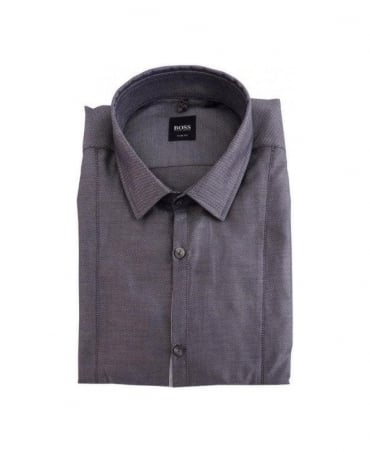 Hugo Boss Grey Pattern Small Collar Shirt