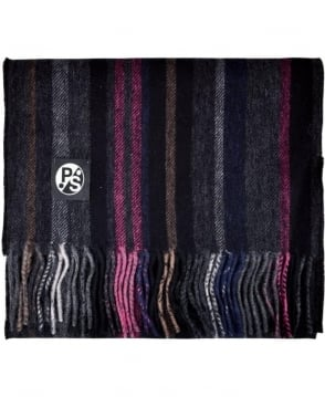 Paul Smith - Accessories Grey/Pink 'College Stripe' Scarf