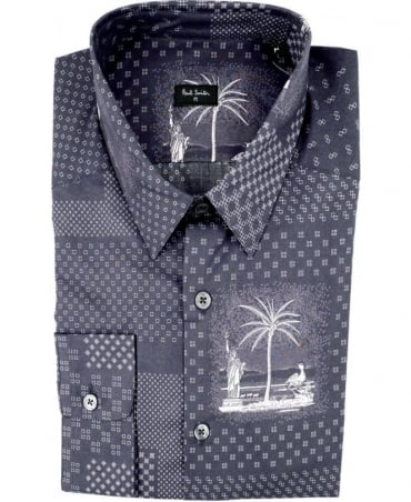 Paul Smith - PS Grey PMXD/356M/333 Souvenir Bandana Slim Fit Shirt