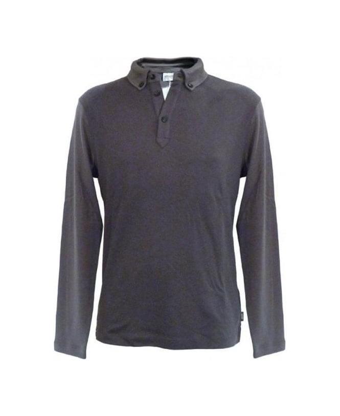 Armani Collezioni Grey Polo Regular Fit Sweatshirt