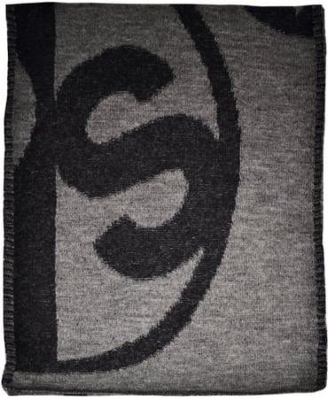 Grey 'PS' Logo Reversible Scarf