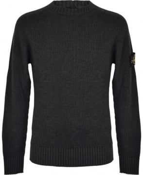 Stone Island Grey Ribbed Crew Neck 6715506C2 Knitwear Jumper