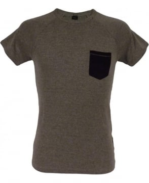 Replay Grey Ribbed M6880 T/Shirt with Patch Pocket