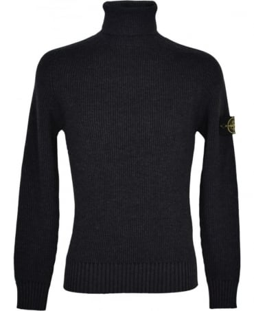 Stone Island Grey Ribbed Roll Neck 5535C2 Knitwear Jumper