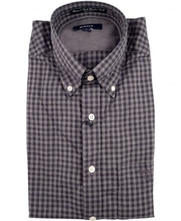 Gant Grey Ruppert Park Heather Twill Gingham Check Shirt