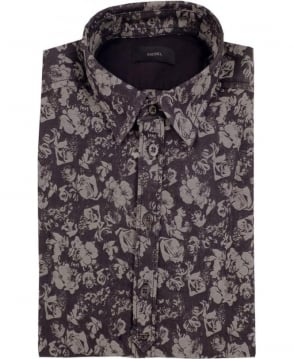 Diesel Grey S-Achi Floral Print Shirt