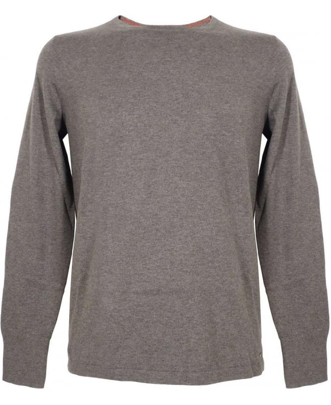Hugo Grey Sabinus Smooth-Knit Silk Mix Jumper