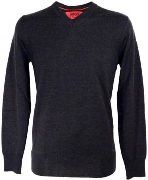 Hugo Grey Sacaralio 502493430 V-Neck Knitwear