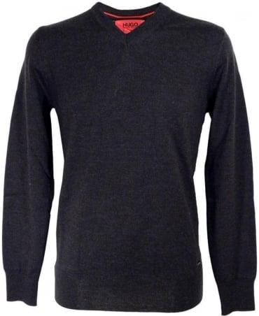 Hugo Grey Sacaralio 502493430 V-Neck Knitwear