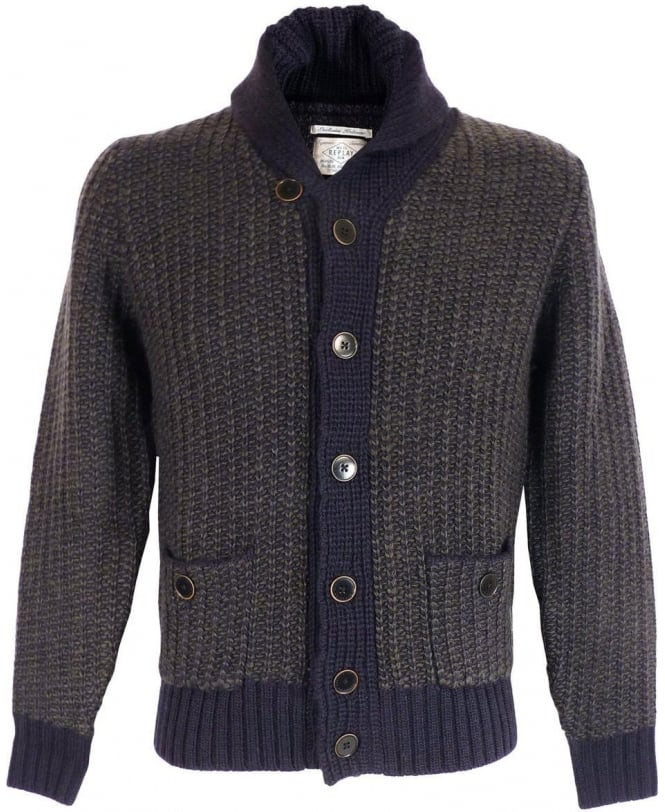 Replay Grey Shawl Neck Cardigan