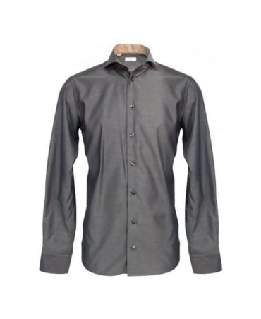 Eton Shirts Grey Slim Fit Formal Shirt